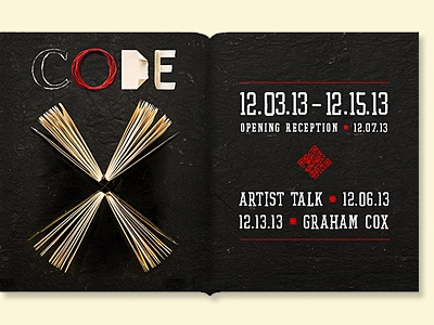 Code X red photographic handmade book arts branding graphic web black books qr code