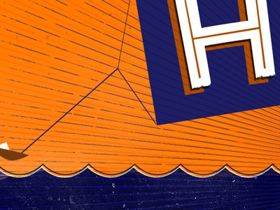 WIP typography h blue orange water