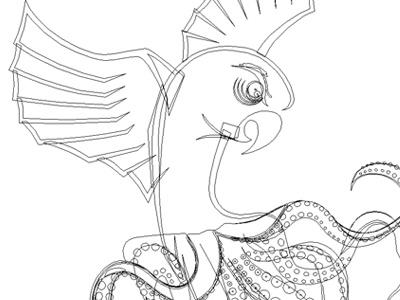 Octoparrot outlines octoparrot vector wip