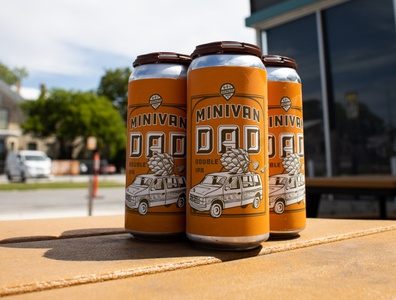 Mini Van Dad 4 Packs illustration beer art micro brew beer branding beer can beer