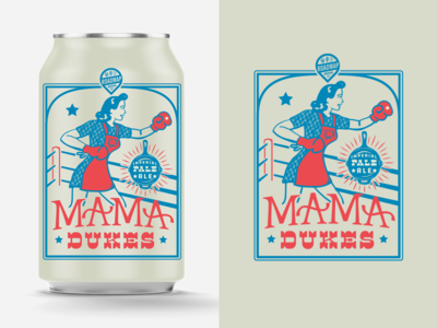 Mama Dukes packagedesign boxing mama illustration beer