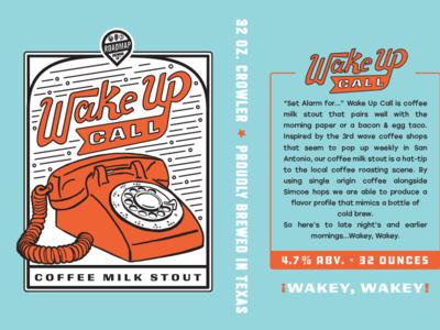 Wake Up Call mug retro illustration milk stout coffee beer