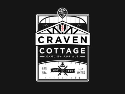 Craven Cottage Label WIP lable illustration can beer soccer football
