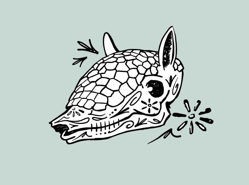 Dillo De Los Meurtos sugarskull armadillo illustration
