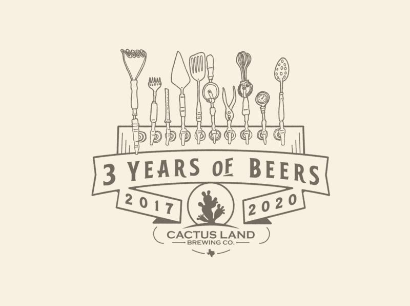 3 Years of Beers - CactusLand cactus texas handdrawn badge illustration