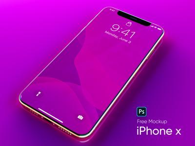 Neon iPhone X Free Mockup