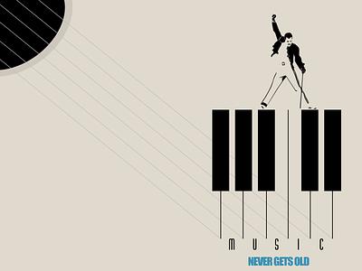 music piano rock and roll minimalista minimalism minimal abstract inspiration freddy illustration animation artwork poster ads old music queen artist art direction ilustração art