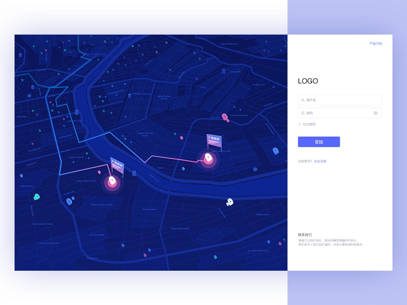 Login User Interface location gif login map vector color ui illustration