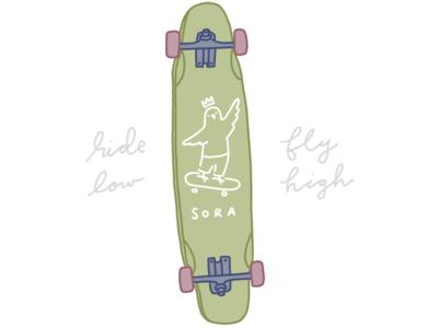 Ride low, fly high 🛹 bird design skateboard longboard procreate illustration
