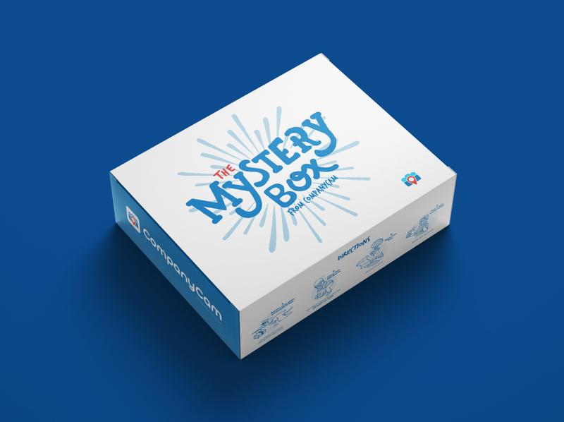 The Mystery Box branding illustration merchandise design merch design mystery box referrals