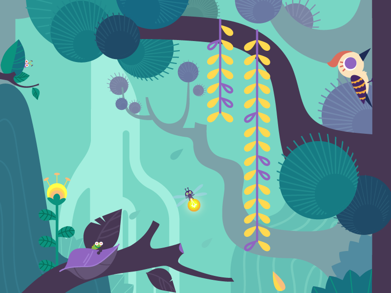 Forest and woodpecker drawing illustration