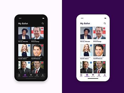 Election Mobile Application - My Ballot Page dark ui dark mode source serif pro avenir ios flat design sketch mockup ux ui design mobile app design