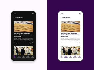 Latest News - Election App iphonex news feed source serif pro avenir mobile app design ios app design dark ui dark mode sketch