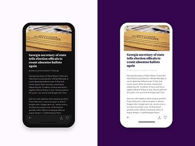 Article View - Election App toolbar dark ui dark mode mobile app design ux ui design ios app design sketch politics