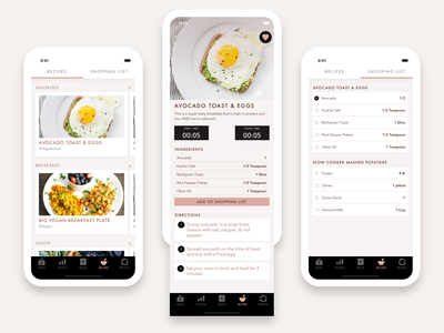 Recipes Section - Food Diary App minimal cooking food recipes mobile app design ios app design futura ux ui design sketch