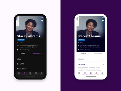 Candidate Profile Page - Election Application source serif pro avenir candidate profile page voter election application dark ui dark mode ux ui design sketch