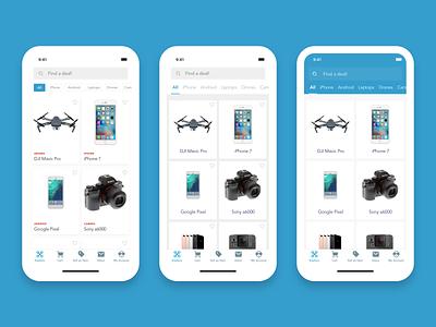 Explore Options - Tech Reseller App ecommerce app discover explore page bottom navigation mobile app design minimal ux ui design sketch