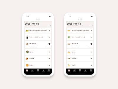 Diary Cards - Food Diary App futura product design clean minimal ios app design avenir mobile app design ux ui design sketch