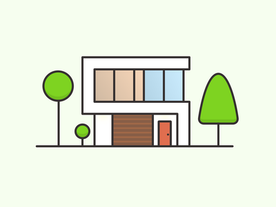Modern House 03 thick lines flat vector art illustration