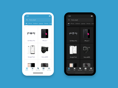 Dark Mode Exploration   Resale App image lists cards ui products discover explore grid ecommerce gallery dark ui dark mode mobile app design sketch ux ui design
