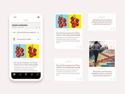 News Cards - Food Diary App news feed food app bottom navigation futura minimal ios app design avenir sketch ux ui design mobile app design card ui