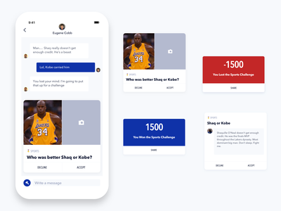 Debate App - Inbox Cards chat inbox card ui ios app design avenir mobile app design ux ui design sketch