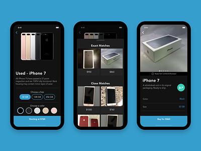 Purchase Workflow    Dark ecommerce card bottom drawer avenir mobile app design ux ui design sketch