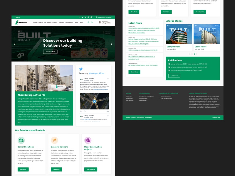 Redesign of Lafarge Ng website webdesign ui design blacktheme ui dribbble uiux website design redesign