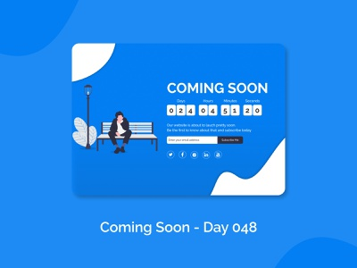 Coming Soon (Day 048) dailyuichallenge dailyui web design one-page-design subscribe coming soon figmadesign ui ui design dribbble uiux