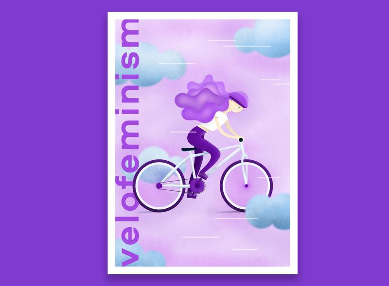 Velofemin Postcard design vector illustration