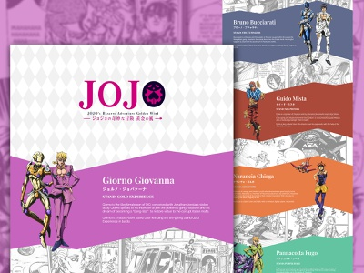 Jojo's Bizzare Adventure Golden Wind Landing Page Concept ui ux cartoons cartoon character cartoon promotion promotional design entertainment landing page design marketing design concept design concept landing page jojo anime website web design