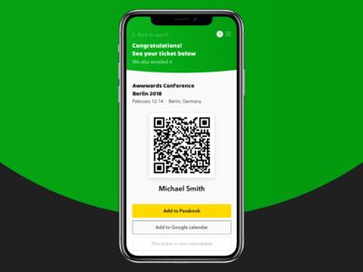 Mobile App — Conference Finder / Ticket Page