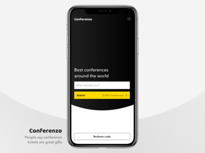 Mobile App — Conference Ecommerce / Welcome Screen
