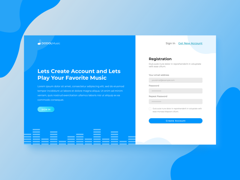 Music web landing page branding ui mobile concept web design musical sound page online music landing entertainment broadcast audio