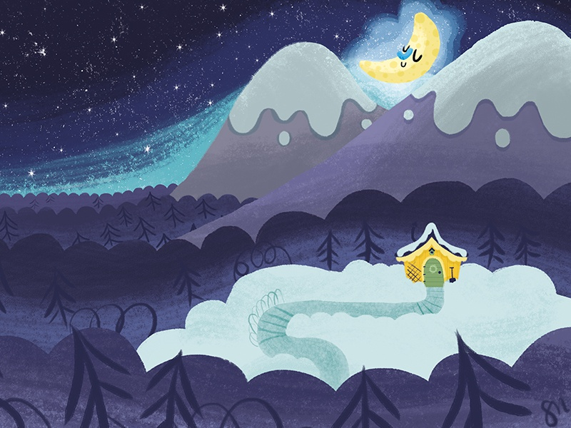 Night sky children book illustration