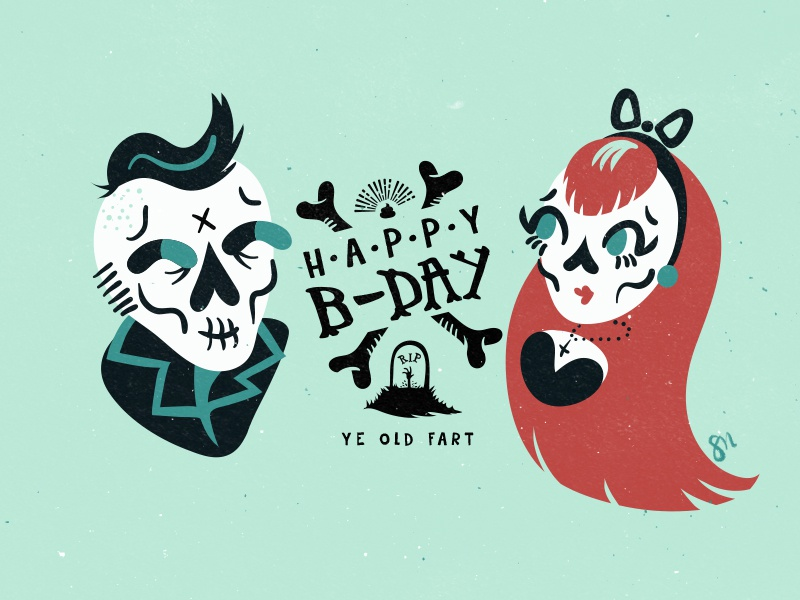 Happy birthday old birthday skulls illustration