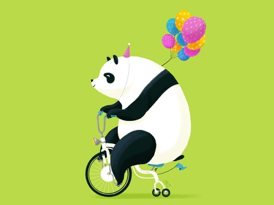 Mr Panda tricycle bike cycle panda illustration