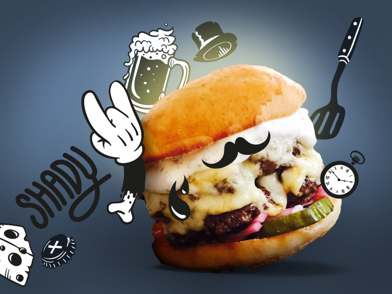 Shady Burgers  beer street food food cheese burgers design illustration