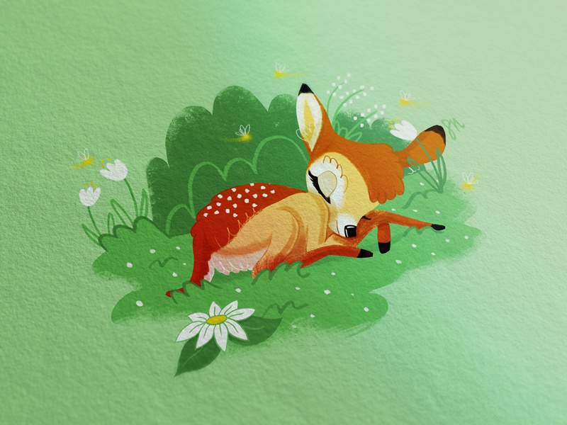 Bambi 2 green cute bambi illustration