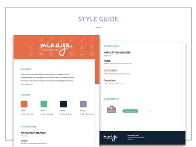 Minaya Style Guide  uikit styleguide brand baby student school ui design web