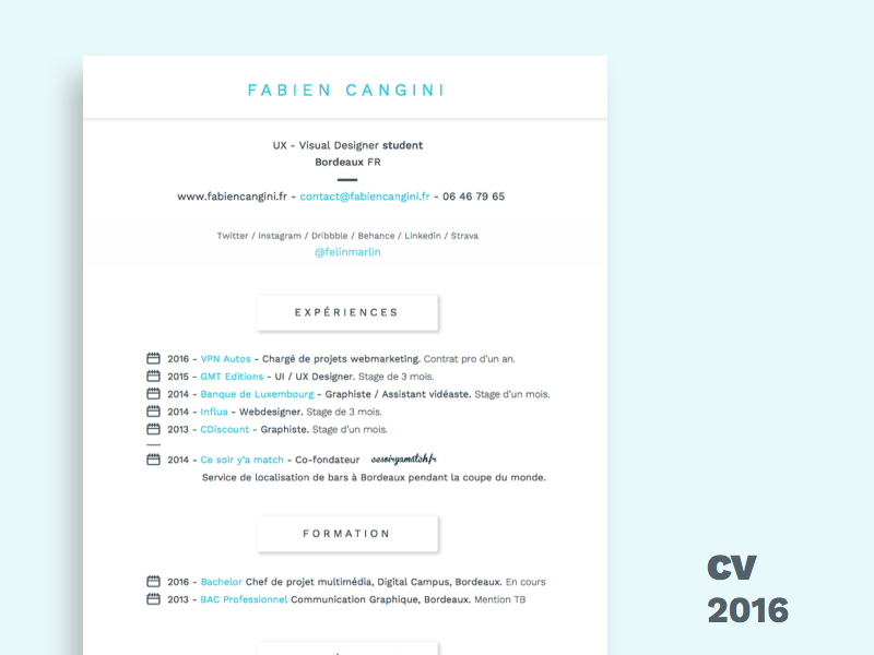 New French Resume By Fabien Cangini On Dribbble