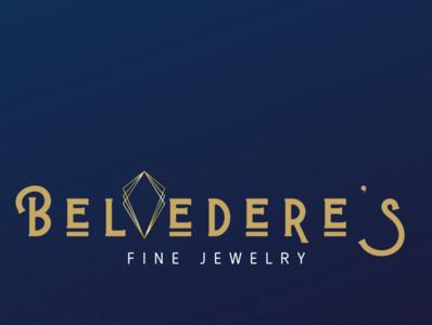 Belvedere's Jewelers Logo jewelers blue gold jewellers jewelry art deco logo