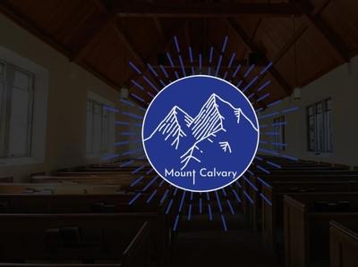 Mount Calvary Church Logo blue and white blue lines outline calvary church logo church logo
