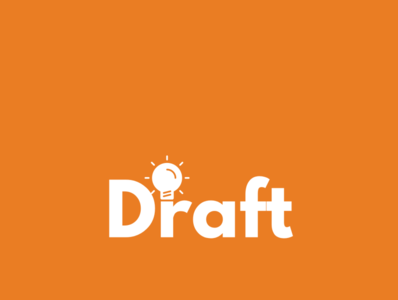 Draft Inventions Logo draft lightbulb white orange logo