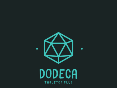 Dodeca Tabletop Club Gaming Logo dice teal grey club board games games gaming logo
