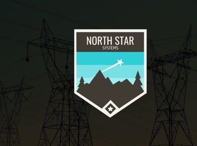 North Star Electric Systems Logo badge logo badge trees mountains electricity electric star logo