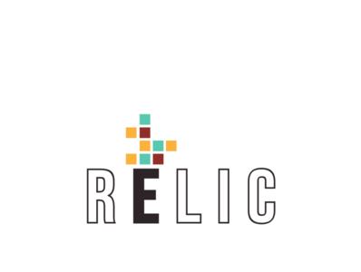 Relic Logo brown teal orange boxes logo