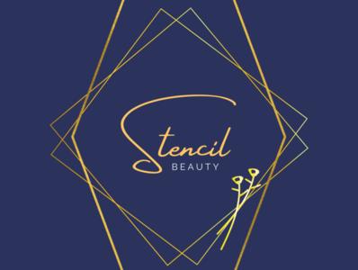 Stencil Beauty Logo art deco blue gold beauty logo beauty logo