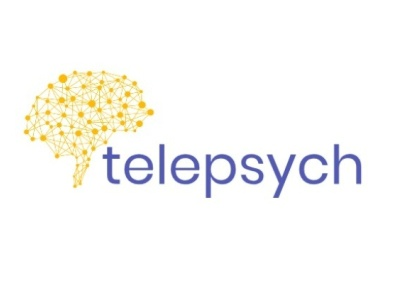 Telepsych Virtual Health Logo mental health mentalhealth psychology telehealth yellow blue logo