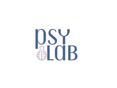 PsyLab Psychology Research Logo pink blue laboratory research psychology logo
